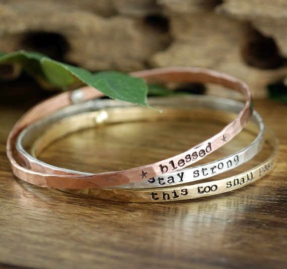 Mantra Bracelets, Stackable Cuff Bracelets, Personalized Bangle Bracelet, Gift for Mom, Custom Bangle Bracelet, Mothers Bracele