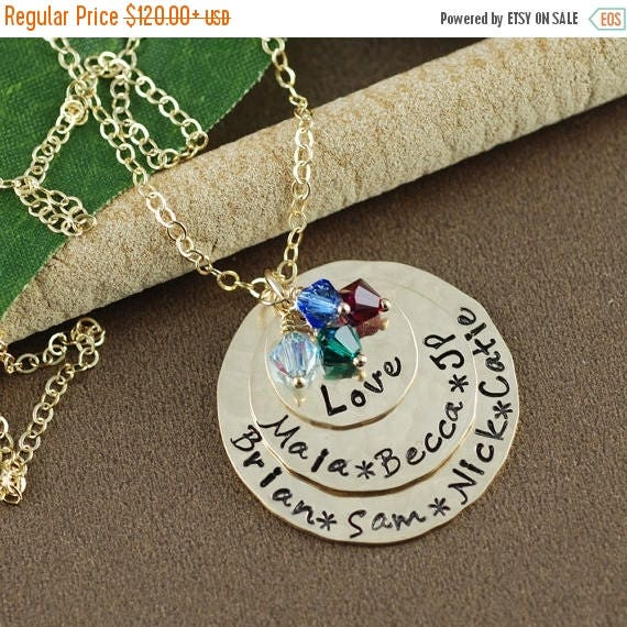 15% OFF SALE Personalized Gold Necklace, Personalized Mom Jewelry, Birthstone Jewelry, Mothers Necklace, Gift for Mom, Mothers Day Gift, Gol