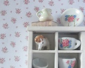1/12 Scale Downloadable Printable Dollhouse Pink Flower Bunch Wallpaper