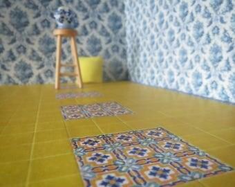 1/12 Scale Downloadable Printable Dollhouse Mediterranean Style Tiles