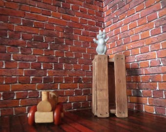 1/12 Scale Downloadable Printable Dollhouse Old English Bond Brick Wall Masonry Brickwork