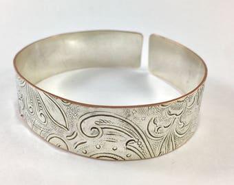 Art Nouveau Cuff, Silver Cuff, Flower Cuff, Spoon Bracelet, Spoon Jewelry, Cutlery Jewelry, Silverware Jewelry, Statement Cuff, Wife Gift
