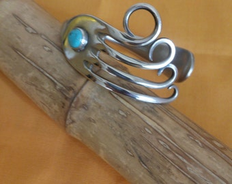 Upcycled fork bracelet  with Blue howlite Turquoise