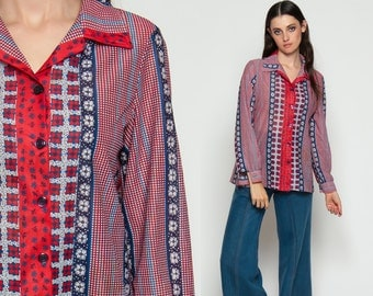 70s Boho Blouse Floral Shirt Button Up Top CHECKERED Print 1970s Long Sleeve Hippie Bohemian Collared Retro Red White Blue Striped Large