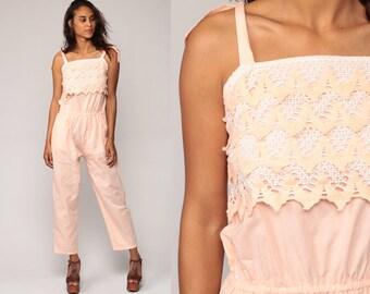 Boho Jumpsuit Pants 80s Romper Pants CROCHET LACE Baby Pink One Piece Jumpsuit Pastel 1980s High Waist Vintage Bohemian Cotton Small Medium