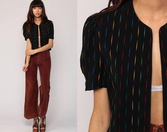 PUFF Sleeve Blouse SILK Top Stripe Shirt 80s Open Front Jacket Black Vintage Short Sleeve Blouse Boho Retro 1980s Medium