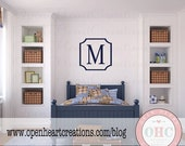 SALE Modern Single Initial Monogram Wall Decal with Frame Border - Personalized Vinyl Decal for Nursery Teen or Family Name 22 x 22 FN0582