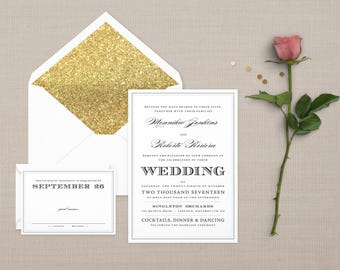 The 'Penelope' Modern Typography Playbill Wedding Invitation Suite (Sample)