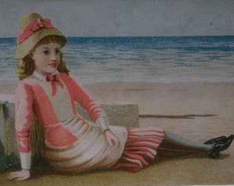 Pretty Girl on Beach in Pink Dress & Hat - Colorful Victorian Card Scrap - 1800's