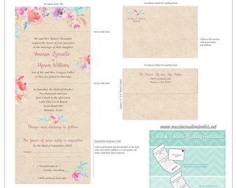 Secret Garden Seal and Send Invitation - Floral Watercolor Invitation - Perforated RSVP Card. . .by Maxim Creative Invites