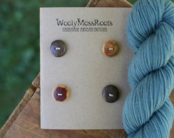 4 Mixed Wood Buttons- in Reclaimed Woods- Eco Knitting Supplies, Sewing Supplies, Craft Buttons- DIY Knitting Supplies
