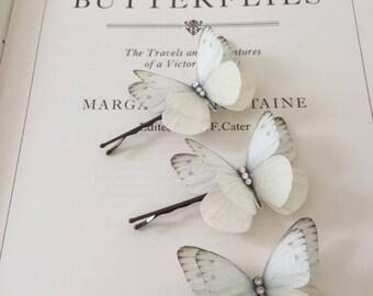 Hand Cut silk butterfly hair pins - Trio of Cream sparkles