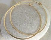 Large Gold Hoop Earrings Hammered in Gold Fill - Ophelia handmade earrings