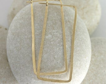 Large rectangle hoops hammered from yellow gold fill - Ophelia hammered earrings