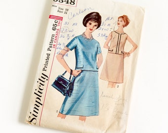 Vintage 1960s Womens Size 10 Two Piece Dress Simplicity Sewing Pattern 5348 Complete / bust 31 waist 24