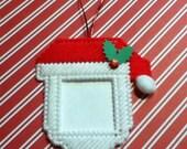 Handmade Santa Claus Picture Frame Ornament Plastic Canvas