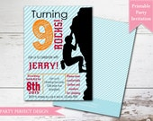 Rock Climbing Birthday Party Invitation with optional Thank You card - Print Your Own