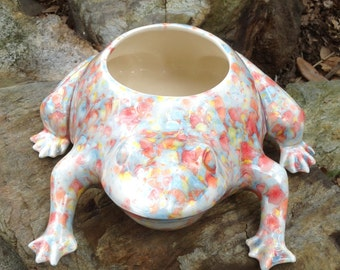 Planter, frog, toad, white, red, blue, yellow, bright, multi color, crystal glaze, ceramic, handmade, pot, houseplant