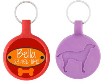 Red Doggy Nameplate- Personalized Dog ID Pet Tag Custom Pet Tag You Choose Tag Size & Colors