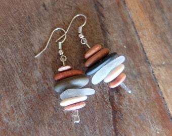 Natural stone / glass earrings - beach glass, beach pebbles - handmade in Australia. Water element jewellery
