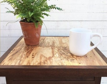 One of a Kind Handmade Rustic Aged Wood Side Table, Salvaged Wood, Reclaimed Wood Nightstand, Spalted Maple End Table, Modern Farmhouse