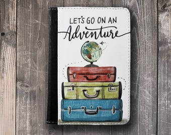Passport holder Cover Lets Go on an Adventure Watercolor Globe Suitcase Passport Case Passport holder Vegan Friendly