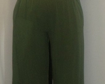 Plus Size Pants, Lagenlook, Coco  Juan, Plus Size Pant, Olive Green, Traveler Knit, Women's Wide Leg Pant,  Size 1 fits 1X,2X
