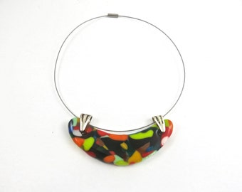 Fused Glass Statement Colorful Necklace, Choker , Pendant Necklace, Hand Made Jewelry