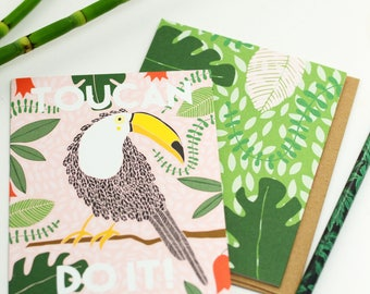 8 Toucan Do It Cards, Blank Toucan Cards, Encouragement Boxed Set, Bird Encouragement Card, Toucan Greeting Cards, Encouragement Stationery