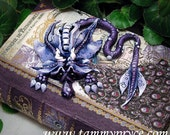 Ooak Polymer Clay Purple Sad Little Dragon Sculpture on Peacock Book / Box #799 Home Decor / Storage