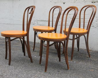 Wonderful Set of 4 Vintage Bentwood Ice Cream Cafe Chairs * Made In Romania