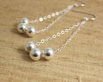 Earrings with Sterling Silver Seamless Beads on Sterling Silver Cable Chains CE-263