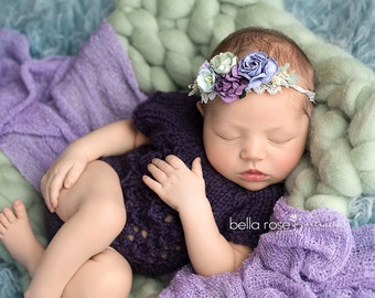 Lacy Newborn Onepiece  Photo Prop Outfit Baby Shower Gift Hand Knit Going Home Coming Overalls Knitted Romper Infant Photography BodySuit