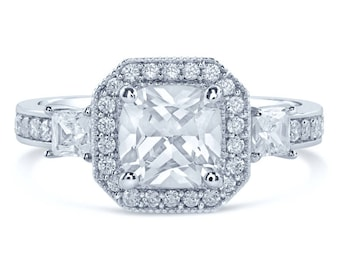 2.55CT Cushion Cut Diamond Engagement Ring Three Stone Style C58