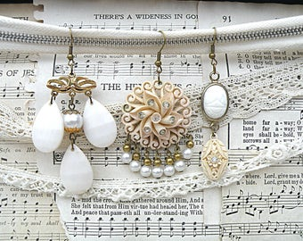 white assemblage earrings mismatch triple mix upcycled vintage jewelry repurposed spring floral cottage chic