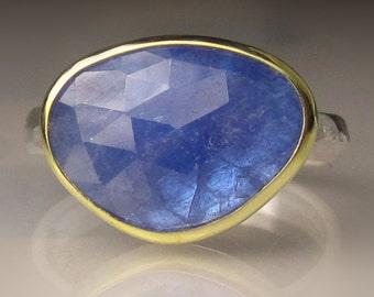 Rose Cut Tanzanite Ring, 18k Gold and Sterling Silver, Tanzanite Cocktail Ring