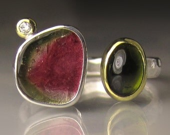 Watermelon Tourmaline Ring, Green Tourmaline Ring, 18k Gold and Sterling Silver, Open Stone Cocktail Ring - size 6