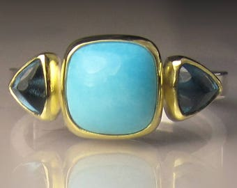 Sleeping Beauty Turquoise and Blue Topaz Ring - 18k Gold and Sterling Silver