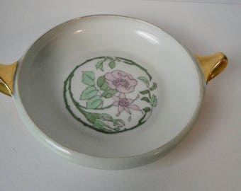 1920's  R S Germany  Hand Painted  Poppies  flowers Bowl with Handles. Signed and Dated
