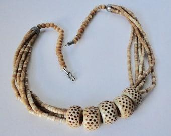 Vintage Multi-Strands Ox Bone Tribal Necklace. Ethnic, Boho Necklace.