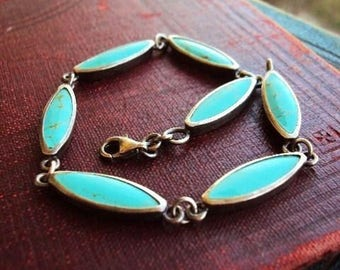 Vintage Turquoise and Sterling Silver Bracelet Turquoise Stone Boho Bohemian Chic Gypsy Hippie Link Bracelet Marked Makers Name CFJ 925