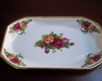 Vintage Home Serving China Royal Albert Candy Dish Made in England Rose Pattern China