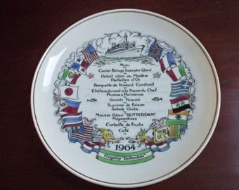 Vintage Collectible Plate Maritime Cruise Menu Plate 1964 Rotterdam Cruise