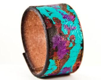 Leather Jewelry for Women - Wide Bracelet Cuff Wristband - Boho