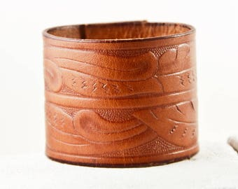 Tooled Leather Cuff, Leather Jewelry, Wide Bracelet Wristband