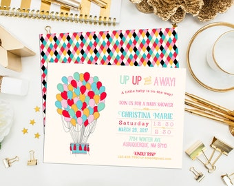 Hot Air Balloon Shower Invitation. Hot Air Balloon Birthday Invite. Up Up and Away Invitation. Baby Shower. Hot Air Balloon Birthday Invite.