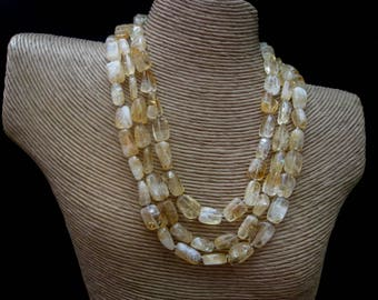 Citrine Necklace, Multi Strand Citrine Necklace, November Birthstone, Citrine Nuggets, Citrine Jewelry, Yellow Necklace, Multistrand