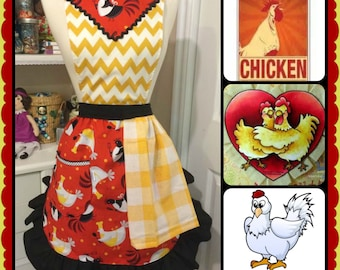 I love my chickens handmade woman's cute apron with two removable towels