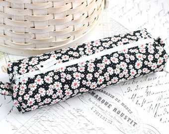 Black and White Floral Cute Pencil Case Boxy Pouch Black Pencil Case Zipper Pouch Back to School