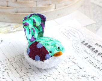 Purple and Teal Floral Bird Pincushion Floral Pin Keep Small Pin Cushion Floral Handmade Pincushion